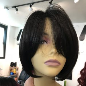 Accessories - High Quality silky BOB black silky handtied Wig